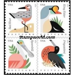 4 عدد تمبر پرندگان ساحلی - آمریکا 2015