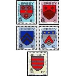 5 عدد تمبر سری پستی - نشانها - جرسی 1981