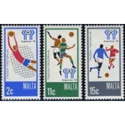 3 عدد تمبر بازیهای فوتبال آرژانتین - مالت 1978