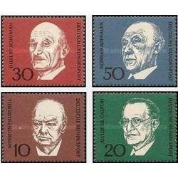 4 عدد تمبر نسخه یادبود کنراد آدناور - صدر اعظم آلمان - جمهوری فدرال آلمان 1968