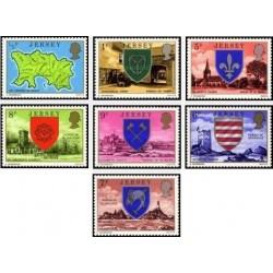 7 عدد تمبر سری پستی - نشان ملی - جرسی 1976