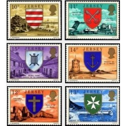 6 عدد تمبر شماره قطعی - نشان ملی - جرسی 1976