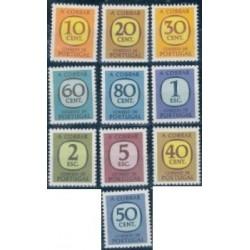 10 عدد تمبر سری پستی - بدهی هزینه ی پستی - پرتغال 1967