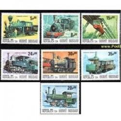 7 عدد تمبر لوکوموتیوها - گینه بیسائو 1984