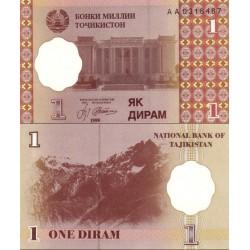 اسکناس 1 دیرم  - تاجیکستان 1999