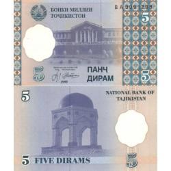اسکناس 5 دیرم  - تاجیکستان 1999