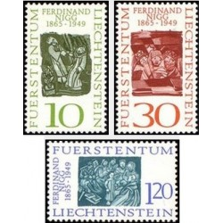 3 عدد تمبر صدمین سالگرد تولد فردیناند نیگ - لیختنشتاین 1965