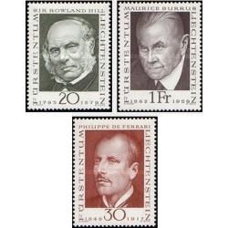 3 عدد تمبر پیشگامان تمبرشناسی - لیختنشتاین 1968