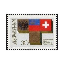 1 عدد تمبر صدمین سالگرد تلگراف - لیختنشتاین 1969