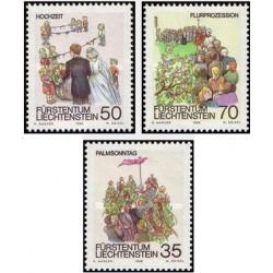 3 عدد تمبر بهار - لیختنشتاین 1986