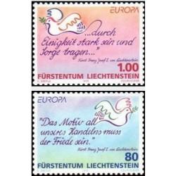 2 عدد تمبر مشترک اروپا - Europa Cept - صلح و آزادی - لیختنشتاین 1995