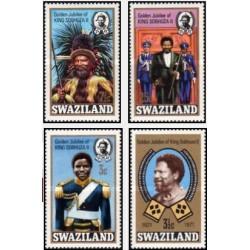 4 عدد تمبر 50مین سالگرد جلوس سلطنت شاه سوبهوزا دوم - سوایزلند 1971
