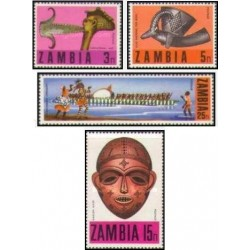 4 عدد تمبر هنر محلی - زامبیا 1970