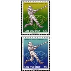 2 عدد تمبر مسابقات جهانی قهرمانی بیس بال ، ایتالیا - سان مارینو 1978