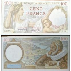اسکناس تابلویی 100 فرانک - فرانسه 1942 با کیفیت خوب مطابق نصویر