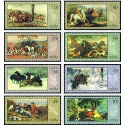 8 عدد تمبر نقاشی شکارچیان - تابلو نقاشی - لهستان 1968