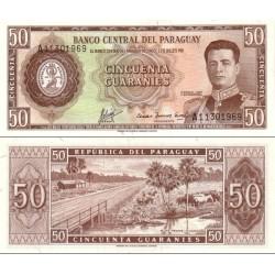 اسکناس 50 گورانی - پاراگوئه 1963 سریال در بالا چپ و پائین راست