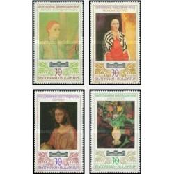 4 عدد تمبر تابلوهای نقاشی هنرمندان خارجی در موزه ملی - بلغارستان 1990