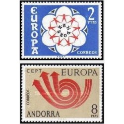 2 عدد تمبر مشترک اروپا - Europa Cept -اسپانیا آندورا 1973