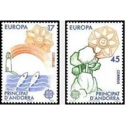 2 عدد تمبر مشترک اروپا - Europa Cept -اسپانیا آندورا 1986