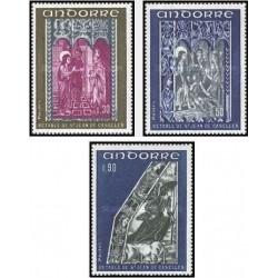 3 عدد تمبر نقاشیهای آبرنگ روی گچ -فرانسه آندورا 1972