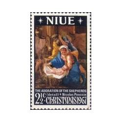 1 عدد تمبر کریستمس - تابلو نقاشی - نیو 1967