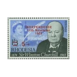 1 عدد تمبر یادبود وینستون چرچیل سورشارژ - زئیر - رودزیا 1966 قیمت 12.7 دلار