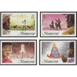 4 عدد تمبر کریستمس - مونتسرت 1985
