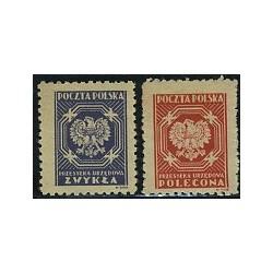 2 عدد تمبر سری پستی خدمات - لهستان 1945