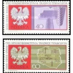 2 عدد تمبر هزارمین سالگرد لهستان  - لهستان 1966