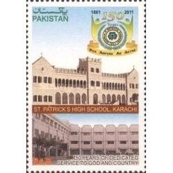 1 عدد تمبر یادبود 150 سالگی دبیرستان سنت پاتریک ، کراچی - پاکستان 2011