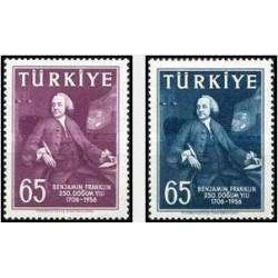 2 عدد تمبر یادبود 250 مین سال تولد بنجامین فرانکلین - رئیس جمهور آمریکا - ترکیه 1957