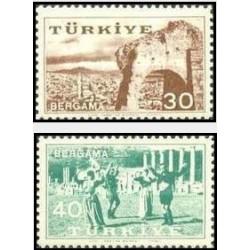 2 عدد تمبر نمایشگاه برگاما - ترکیه 1957