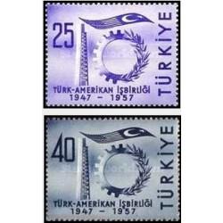 2 عدد تمبر دوستی ترکیه و آمریکا - ترکیه 1957