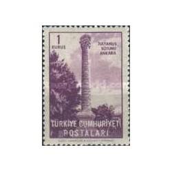 1 عدد تمبر سری پستی - بناهای آنکارا - ترکیه 1963