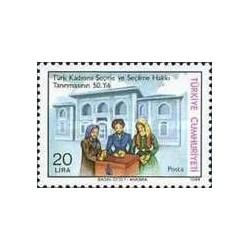 1 عدد تمبر پنجاهمین سالگرد حق رای زنان - ترکیه 1984