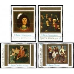 4 عدد تمبر تابلو نقاشی اثر کارنلیو بابا - رومانی 1983
