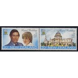 2 عدد تمبر ازدواج سلطنتی - چارلز و دایانا - نیوزلند 1981