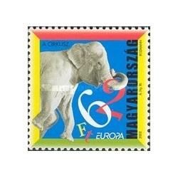 1 عدد تمبر مشترک اروپا - Europa Cept- سیرک - مجارستان 2002
