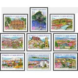 9 عدد تمبر سری پستی استانهای ترکیه - مناظر  - ترکیه 2008 قیمت 16 دلار