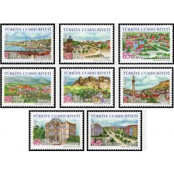 8 عدد تمبر سری پستی استانهای ترکیه - مناظر  - ترکیه 2008 قیمت 8.5 دلار