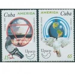 2 عدد تمبر کبوتر - کوبا 1999