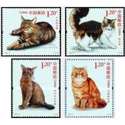 4 عدد تمبر حیوانات اهلی - گربه ها - چین 2013