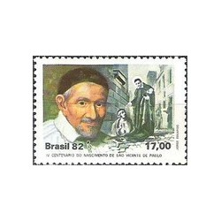 1 عدد تمبر صدمین سال تولد سنت وینسنت پائول - کشیش کاتولیک - برزیل 1982