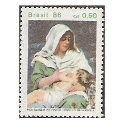 1 عدد تمبر 50مین سال درگذشت هنریکو برناردلی - نقاش - برزیل 1986