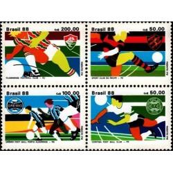 4 عدد تمبر برزیل برنده جام طلای فوتبال - برزیل 1988