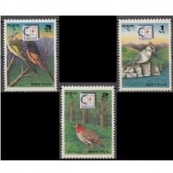 3 عدد تمبر پرنده - بوتان 1995