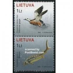 2 عدد تمبر کتاب قرمز - اردک و ماهی - لیتوانی 2006