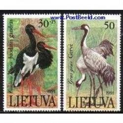 2 عدد تمبر پرندگان - لیتوانی 1991