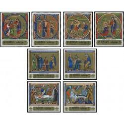 8 عدد تمبر عید پاک - تابلوهای نقاشی مینیاتور -  عجمان 1970